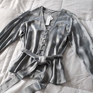 Topshop Gray-Silver Satin Blouse w Tie Belt